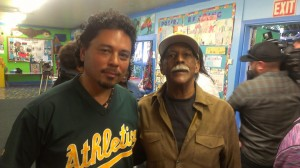 Tony Robles, co-editor of POOR Magazine and board president of Manilatown Heritage Foundation, stands strongly in support of Greg Johnson and his family, owners of Marcus Books. – Photo: Poor News Network