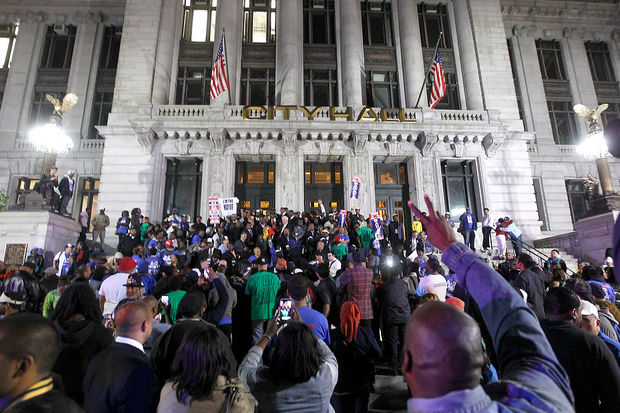 Newark Mayor-elect Ras Baraka celebrates with his supporters on the steps of City Hall after his victory in Tuesday's mayoral election. – Video: Andrew Mills, The Star-Ledger
