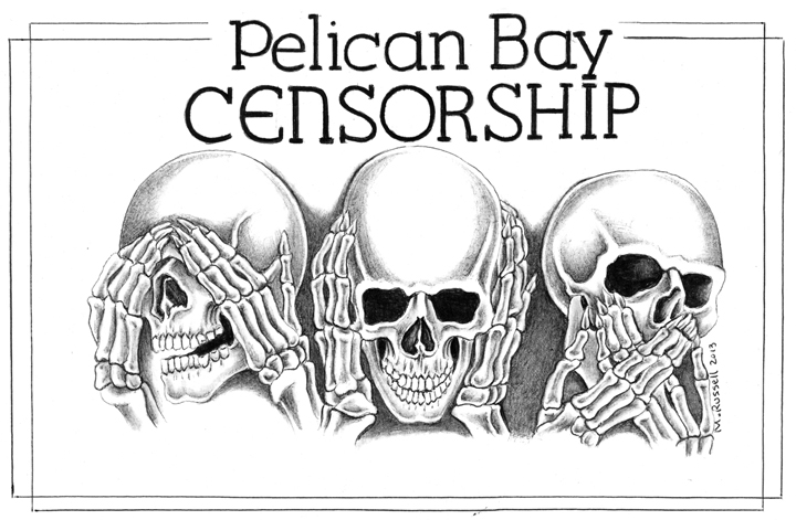 'Pelican Bay Censorship' drawing by Michael Russell, web