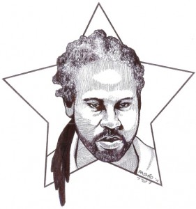 Rashid drew this self-portrait in 2013.