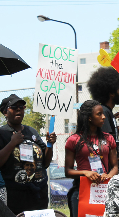 Parents-Children-of-African-Descent-PCAD-Malcolm-X-Day-march-parent-youths-listen-to-speakers-at-BUSD-HQ-by-Laura-Savage, Berkeley parents rally forequity for Black students, Local News & Views