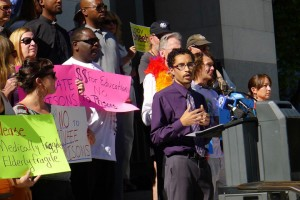 Zachary Norris, executive director of the Ella Baker Center for Human Rights speaks at an August 2013 press conference in response to SB 105, which would have spent a billion dollars to expand prison capacity by sending more prisoners out of state.