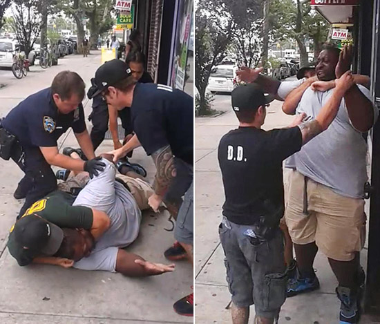 """""""I can't breathe! I can't breathe!"""" gasped Eric Garner, 43, an asthmatic father of six, as NYPD Officer Daniel Pantaleo held him in a death grip. Pantaleo has been accused of being heavy handed with other Black suspects in the past."""