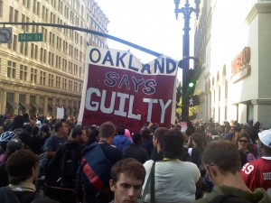 As Oscar's mother decried the verdict outside the courthouse in Los Angeles, where Mehserle was tried, Oakland streets erupted once again on verdict day, July 8, 2010. – Photo: Indybay