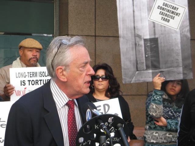 """Center for Human Rights and Constitutional Law President Peter Schey tells the press on March 20, 2012, about the petition he had just filed asking the United Nations to intervene on behalf of the thousands of California prisoners in solitary confinement. """"California holds more prisoners in solitary confinement than any other state in the United States or any other nation on earth. The treatment of these prisoners is barbaric and, numerous experts agree, amounts to torture,"""" he said. – Photo: Alma Espinosa"""