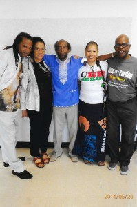 Several Jericho Conference delegates were able to visit renowned poet and political prisoner Mondo we Langa. From left are Norman Mogodishu, Linda Kennedy, Mondo we Langa, Dequi Kioni-Sadiki and Billy X Jennings.