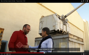 """Mirian Saez shows """"Rob on the Road"""" host Rob Stewart the squat miniature cannon left by the Navy that Mirian Saez claims can shoot 18,000 feet, all the way to Oakland."""