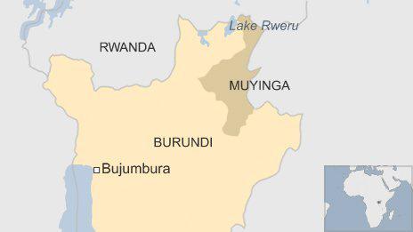 Lake Rweru lies on the Rwanda-Burundi border. – Map: BBC