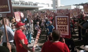 Hundreds have been marching and rallying to save DMC, Doctors Medical Center, which treated 12,000 of the 15,000 people in Richmond hospitalized by the Chevon refinery explosion in August 2012. – Photo: NUHW
