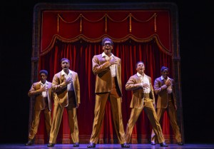 "Rodney Jackson Jr. plays David Ruffin of The Temptations, shown here, and also Jermaine Jackson in ""Motown the Musical"" at the Orpheum in San Francisco. – Photo: Joan Marcus"