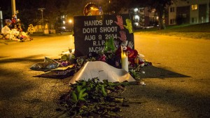 A memorial at the site where Michael Brown was shot, on Canfield Drive in Ferguson, Mo. – Photo: Myles Bess