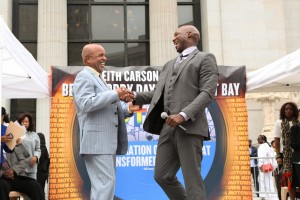 """Oakland welcomed """"Motown the Musical"""" with Berry Gordy Day Aug. 18 in Oscar Grant Plaza outside City Hall. Berry and Clifton Oliver, who plays him, are enjoying the love. – Photo: Sara Marie Prada"""