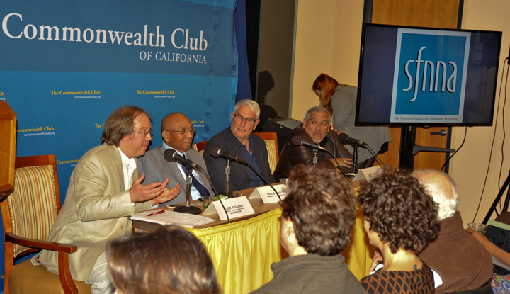 Publishers with the San Francisco Neighborhood Newspaper Association – Glenn Gullmes (West Portal Monthly), Willie Ratcliff (SF Bay View), Earl Adkins (Marina Times) and Juan Gonzales (El Tecolate) –comprised the panel, speaking to a full house, at the prestigious Commonwealth Club on Sept. 22. – Photo: Mitch Bull, Castro Courier
