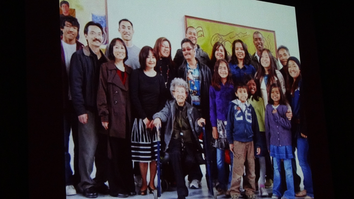 This photo of Yuri and her family was displayed at the memorial.