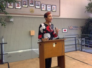 Dr. Amani Nuru-Jeter of UC Berkeley speaks at the African American Breast Cancer Conference on Oct. 26.