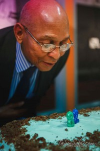 Dr. Willie Ratcliff, Bay View publisher and co-sponsor with the Block Report of Black Media Appreciation Night, celebrates his 82nd birthday at the reception leading up to the awards ceremony. – Photo: TaSin Sabir