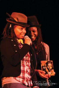 """Melonie and Melorra Green – """"The Twins"""" – have been charming the Bay as hosts of The Ibeji Lounge Tuesday nights on KPOO and visual arts coordinators at the African American Art and Culture Complex. – Photo: TaSin Sabir"""