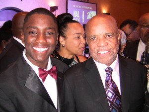 "Christopher Xavier Earl-Rockefeller, 16, of San Leandro won the Berry Gordy Family Foundation Scholarship for hosting the TV show for youth, ""The Adventures of Mr. Christopher,"" and was congratulated by Mr. Gordy himself."