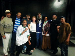 A high point of Cynthia McKinney's California tour came on April 23, 2013, at the Kaos Network on Leimert Boulevard in Los Angeles, when Kathleen Cleaver came with the Freeman brothers, Roland and Ronald, better known as Elder. They are standing on either side of Kathleen, Elder Freeman between Kathleen and Cynthia. Kathleen had come to California to raise money for Elder Freeman to travel to Cuba for cancer treatment, and her mission was accomplished. He would never make the trip, however, as his doctors said he was too sick. With the Panthers and KPFK broadcaster Dedan Kimathi, along with Minister of Information JR, host and organizer of the tour, it was a gathering of veterans of the struggle. – Photo: Block Report