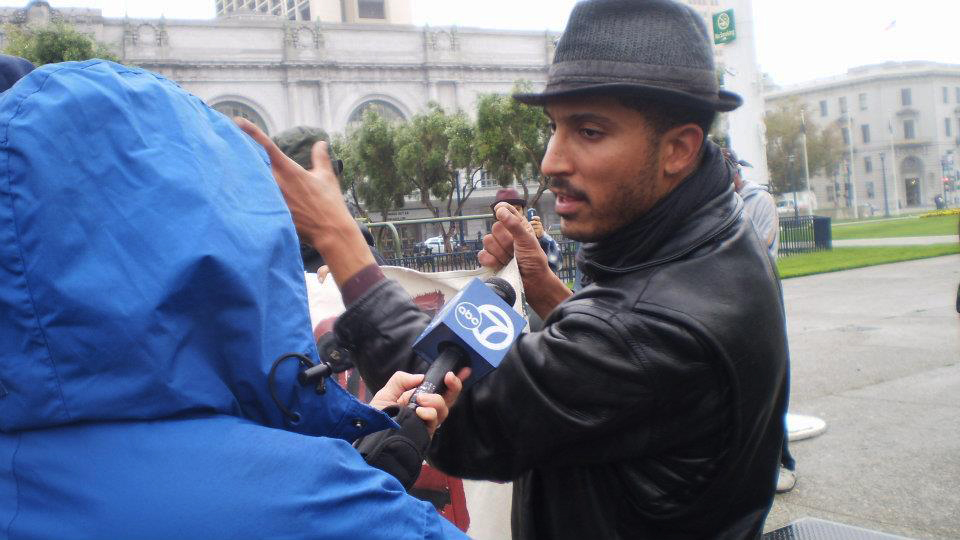 Jeremy Miller is interviewed on World Homeless Day 2011 during the Homes Not Jails occupations.