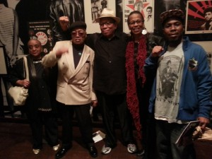 """Black Panthers Mrs. and Mr. Terry Cotton, close friends of Bobby Hutton, the first Panther to be assassinated, Melvin Dickson of The Commemorator and the first female member, Tarika Lewis, along with JR Valrey, enjoyed the Bay Area premiere of the play """"Party People"""" in Berkeley on Oct. 24. – Photo: Block Report"""