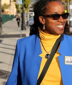 Richmond Vice Mayor Jovanka Beckles approaches Richmond Progressive Alliance headquarters for a meet-and-greet to kick off the big fundraiser featuring Sen. Bernie Sanders on Oct. 16. – Photo: Malaika Kambon