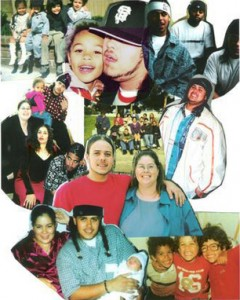 In this photo collage of Asa Sullivan and his family, the photo at top left shows the four siblings: Asa's sister T-sha, brother Sangh, brother Kahlil and Asa; in the top center closeup are Little Asa and Asa; at top right are Sangh, Jeff, Asa's niece's dad, and Asa; in the middle row at left, from the top are Asa holding his sister's daughter J-zsha, his mother Kathy, T-sha and Sangh; at the center of the collage is a family gathering and below it, Asa and his mom; to the right in the white jacket is Asa; at the bottom left is Asa's own family: Nicole, Asa and Little Asa; and at the bottom right are the three brothers: Sangh, Asa and Kahlil.