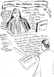 Asa's mother, Kathleen Espinosa testifies, responding to the questions of her attorney, John Burris. – Art: Nomy Lamm