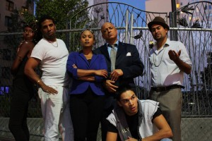 """The all Black and Brown cast of """"Superheroes,"""" running Nov. 21-Dec. 21 at the Cutting Ball Theater, 277 Taylor in Frisco, from left, are Britney Frazier, Myers Clark, Delina Brooks, Donald Lacy, Juan Amador and, in front, Ricky Saenz. This play is a must-see for the Black and Brown communities and everyone who cares about justice."""