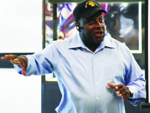 Dorsey Nunn speaks at the launch of the Formerly Incarcerated People's Policy Academy in Los Angeles in December 2013. – Photo: Charles Dodds, Urban Guerilla Media