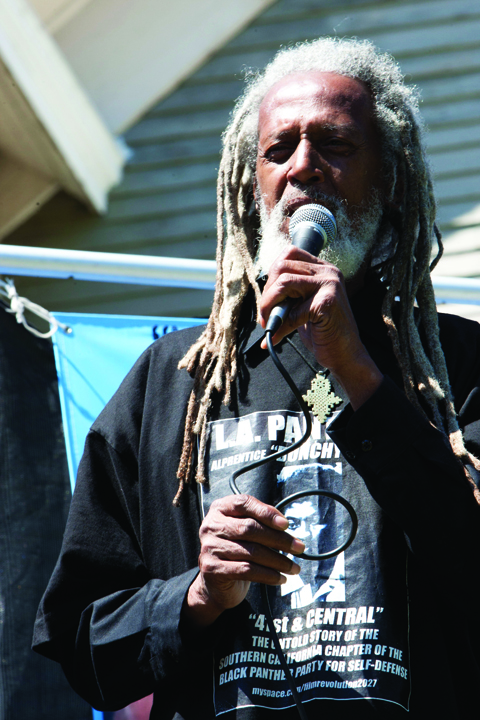 Elder Freeman speaks on Geronimo Day at Lil' Bobby Hutton Park in West Oakland, July 17, 2011. – Photo: Malaika Kambon