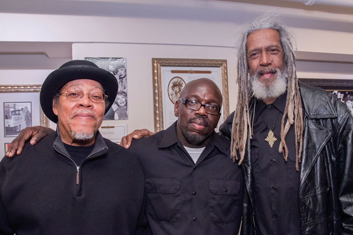 "Celebrating Legal Services for Prisoners With Children's 35th Anniversary, on Oct. 19, 2013, are Sundiata Tate, Robert ""Fleetwood"" Bowden and Elder Freeman, three formerly incarcerated people who are great assets to the community. – Photo: Aubrie Johnson"