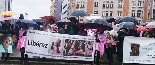 The Women's International Network for Democracy and Peace demonstrated in Brussels for the freedom of Rwandan political prisoner Victoire Ingabire Umuhoza in January 2014, after the Rwandan Supreme Court increased her sentence from eight to 15 years.