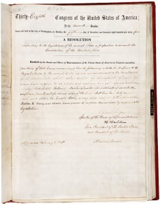 This is the 13th Amendment as originally handwritten on Feb. 1, 1865.
