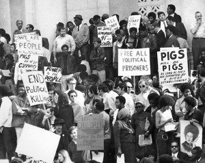 Thousands of people rally at the Hall of Justice in downtown Los Angeles Dec. 11, 1969, three days after the LAPD's SWAT unit illegally attacked the Southern California Chapter of the Black Panther Party headquarters on 41st Street and Central Avenue in South Los Angeles. – Photo: Los Angeles Herald Examiner