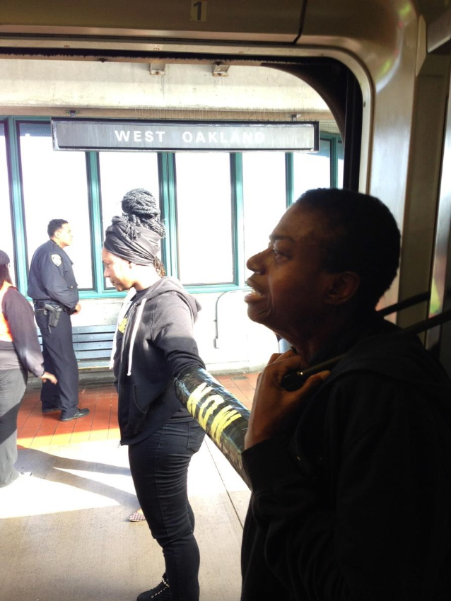 At the West Oakland station, the Blackout Collective's carefully crafted plan worked, shutting trains down in both directions when members chained themselves to BART cars and to each other.