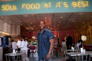 Derrick Johnson, owner of Home of Chicken and Waffles in Jack London Square