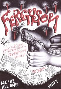 """Ferguson"" – Art: Criss Garcia, J-93559, PBSP SHU C1-112, P.O. Box 7500, Crescent City CA 95531"