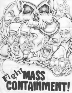 """""""Fight Mass Containment"""" – Art: Roger """"Rab"""" Moore, G-02296, HDSP Z-168, P.O. Box 3030, Susanville CA 96127"""