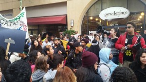 The plaza at Fruitvale BART resonated with angry, hardcore and inspiring speeches by high school students on Dec. 15. – Photo: Poor News Network