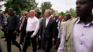 British officials were right at the front, with President Kagame, in this footage of the walk to the April 7 genocide memorial in Kigali, which was included in the BBC documentary 'Rwanda's Untold Story'.' The UK continues to be the biggest foreign donor to Rwanda.