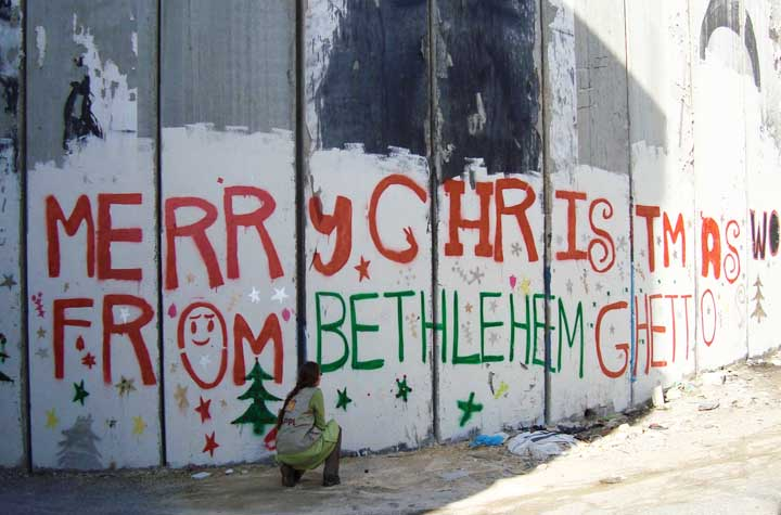 The apartheid wall around Bethlehem locks residents in and others out. Though thousands of foreign tourists can make their way to Bethlehem to celebrate Christmas, Christian Palestinians who wish to visit Bethlehem from others parts of the West Bank or Gaza and from other Arab countries are prevented from doing so by the Israeli occupiers.