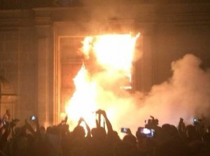 Protesters set fire to the doors of the Mexican National Palace on Nov. 8, 2014.