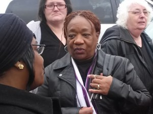 After Rev. Pinkney's sentencing on Dec. 15, his wife, Dorothy Pinkney, a longtime activist in her own right, discusses with other supporters how to move forward. – Photo: Abayomi Azikiwe