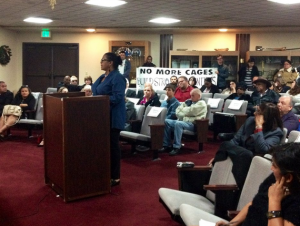 On Wednesday, Dec. 10, Vonya Quarles of All of Us or None, along with other San Bernardino County residents and members of LA No More Jails, attended the Adelanto City Council meeting to object to the proposed new jail plan.