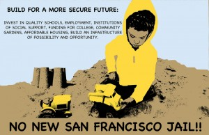 This poster was designed by Fiona Glas of the San Francisco Print Collective in support of the SF No New Jail Campaign.