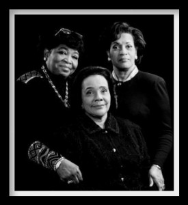 From left, Dr. Betty Shabazz, widow of Malcolm X; Mrs. Coretta Scott King, widow of Dr. Martin Luther King; and Mrs. Myrlie Evers-Williams, widow of Medgar Evers – widows of the movement