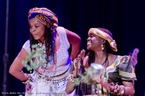 Kujichagulia drums as the entrancing Yamanya Napue dances at the first Black Media Appreciation Night, on Nov. 26, 2012. – Photo: Scott Braley
