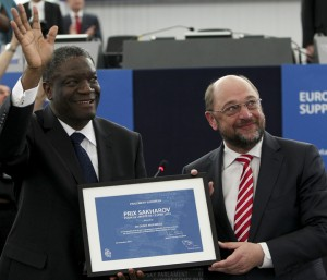 Dr. Denis Mukwege is awarded the Sakharov Prize for Freedom of Thought by European Parliament President Martin Schulz on Oct. 21, 2014.