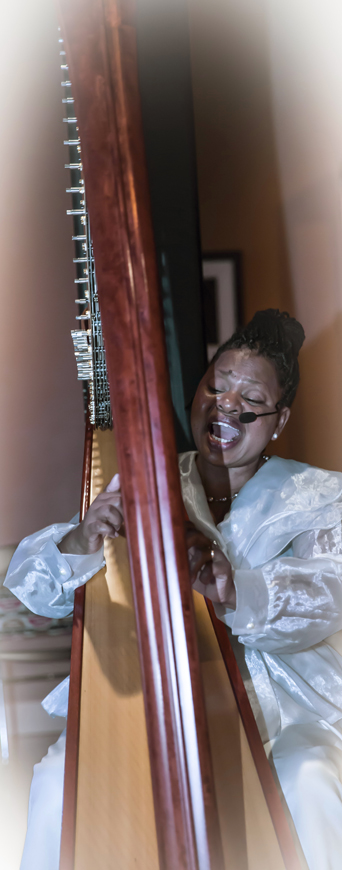 Destiny Muhammad and the rarified beauty of her harp have opened for the Oakland East Bay Symphony, shared the stage with Jazz masters Azar Lawrence, Marcus Shelby, Omar Sosa and John Santos and headlined for the Women in Jazz concert series in San Francisco. – Photo: Malaika Kambon